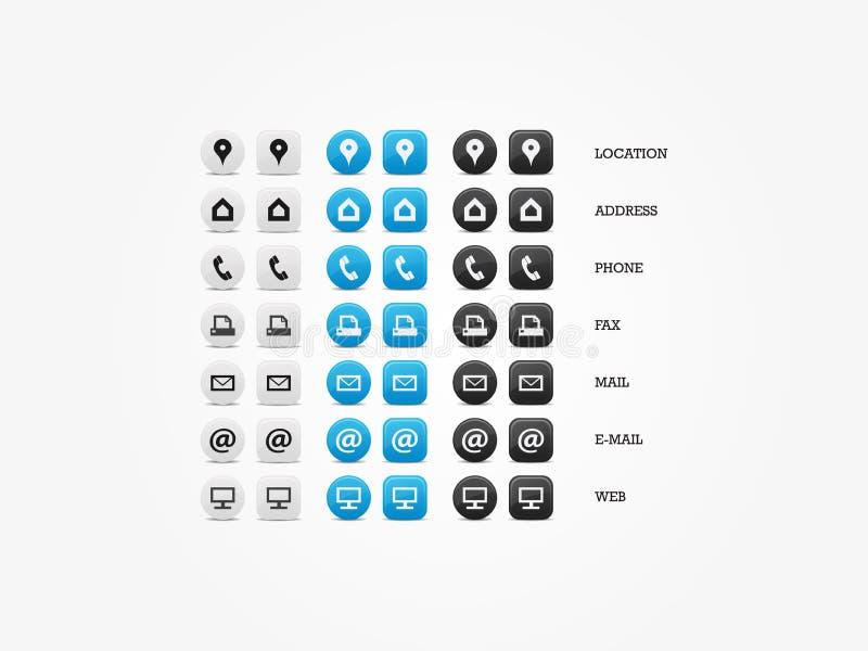 Ensemble universel d'icône de carte de visite professionnelle de visite illustration stock