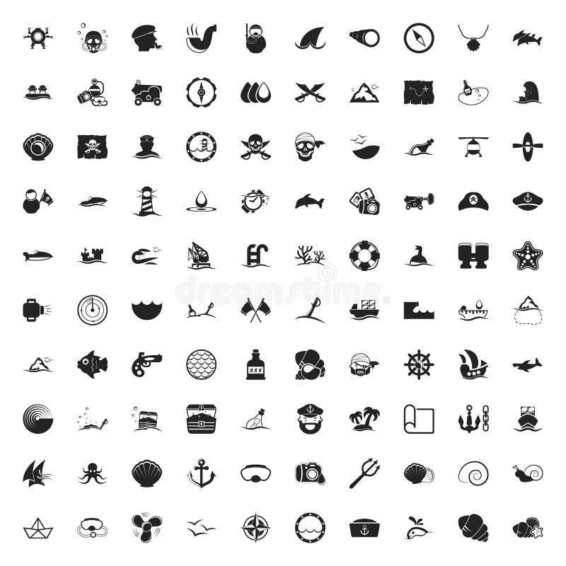 Ensemble universel d'icônes de la mer 100 pour le Web et l'appartement mobile illustration libre de droits