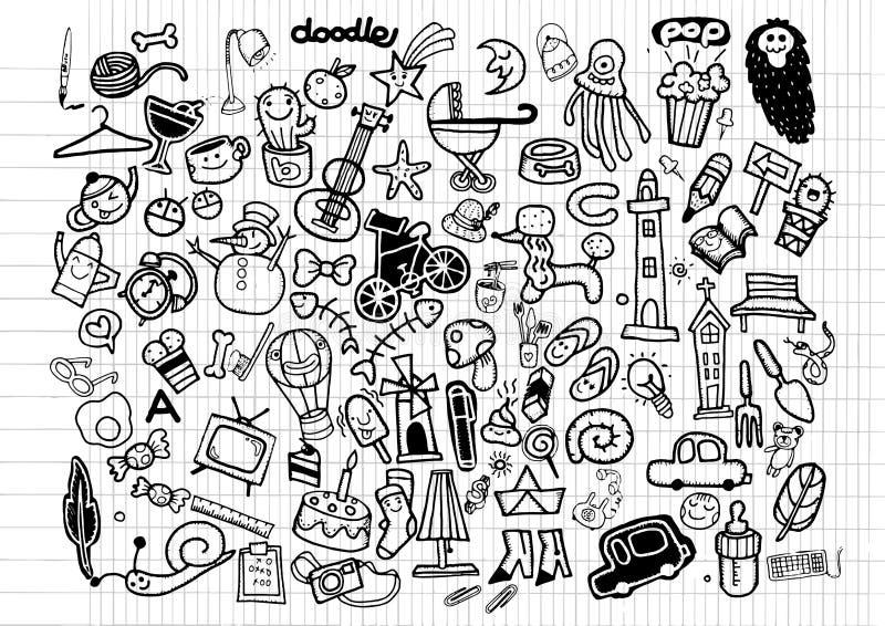 Ensemble universel de grandes de vecteur icônes de griffonnage illustration de vecteur