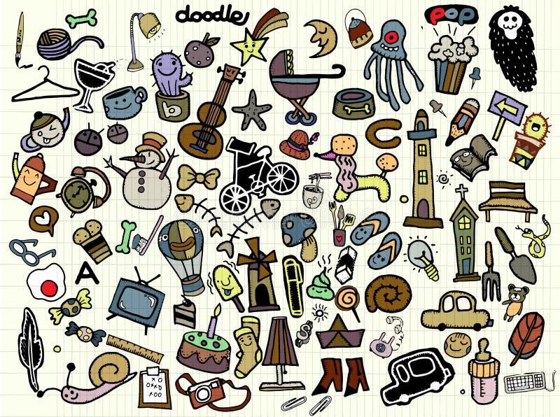 Ensemble universel de grandes de vecteur icônes de griffonnage illustration stock