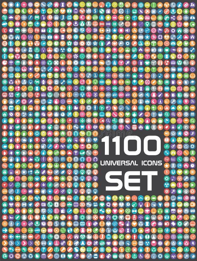 Ensemble universel de 1100 icônes illustration stock