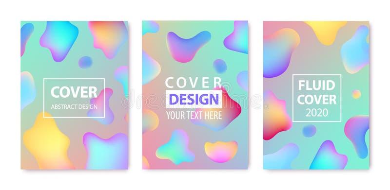 Ensemble vectoriel de modèles de création abstraits de fluides, de cartes, de couvertures de couleurs Conception géométrique, liq illustration libre de droits