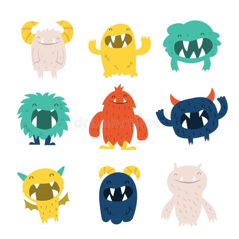 Ensemble velu mignon de monstres illustration de vecteur