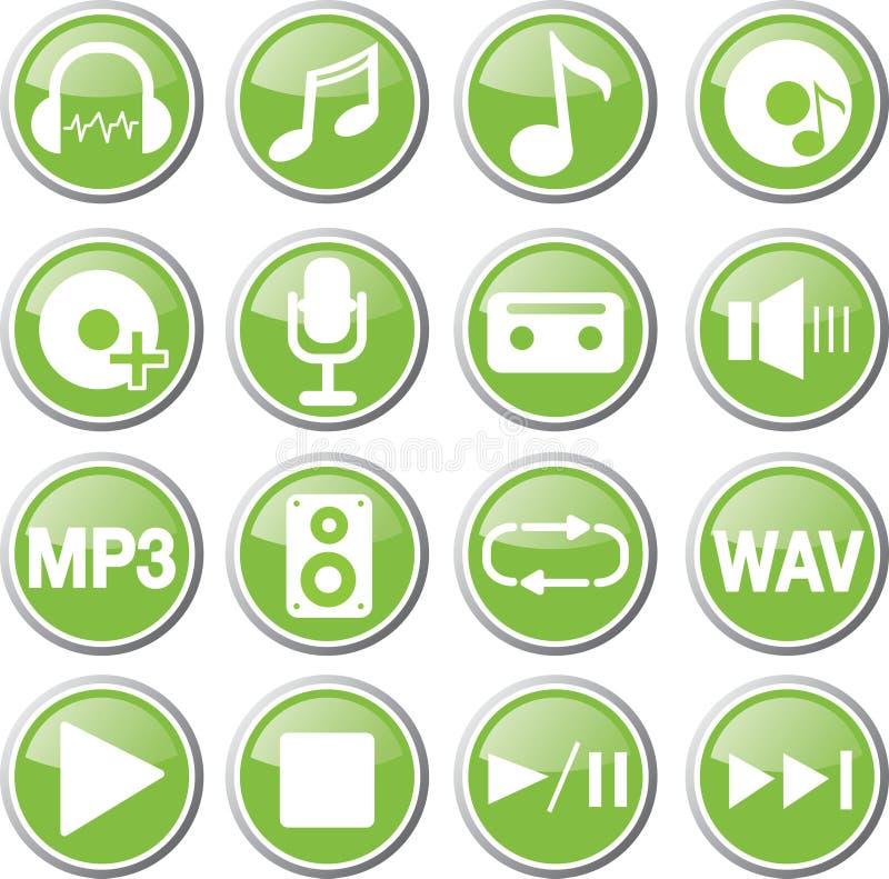 ensemble vert audio d'icône illustration de vecteur