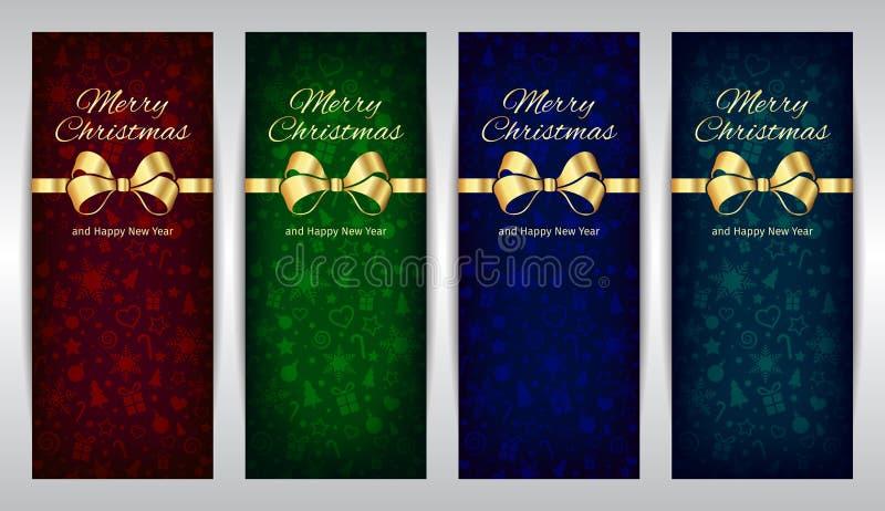 Ensemble vert-bleu rouge de Joyeux Noël et de bonne année de fond foncé de bannières verticales de vecteur avec le ruban d'or illustration stock