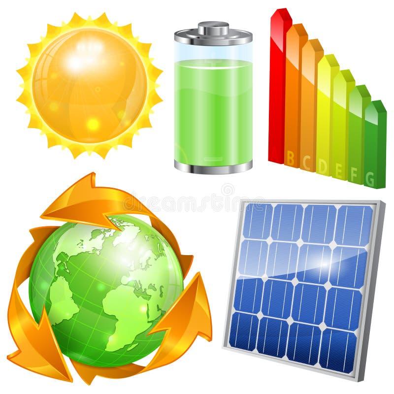 Ensemble vert d'énergie illustration libre de droits