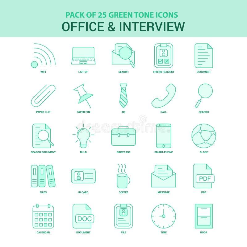 Ensemble vert d'icône du bureau 25 et de l'entrevue illustration de vecteur