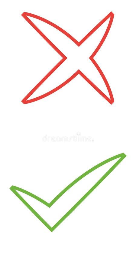 Ensemble, vert et rouge d'icônes de liste de case à cocher d'isolement sur le fond blanc illustration stock
