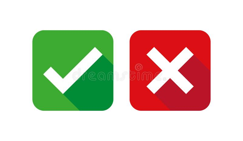 Ensemble, vert et rouge d'icônes de liste de case à cocher d'isolement sur le fond blanc, illustration de vecteur illustration de vecteur
