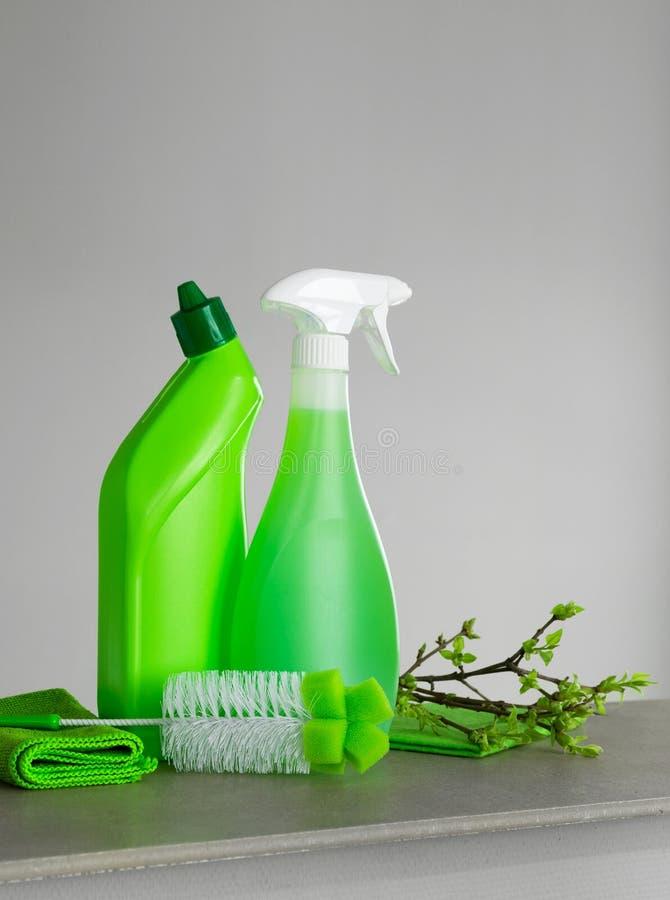 Ensemble vert pour le grand nettoyage et quelques brindilles avec de jeunes feuilles de ressort photos libres de droits