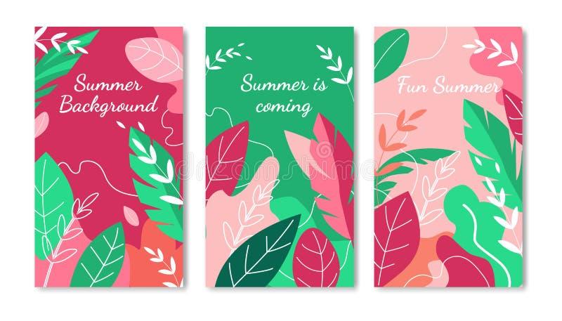 Ensemble vertical de bannières de fond d'été Affiche d'annonce illustration libre de droits