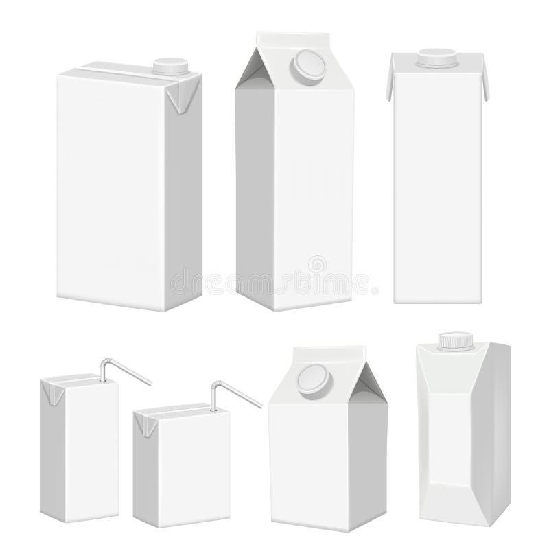 Ensemble vide blanc réaliste de calibre de paquet de carton de jus de vecteur illustration libre de droits