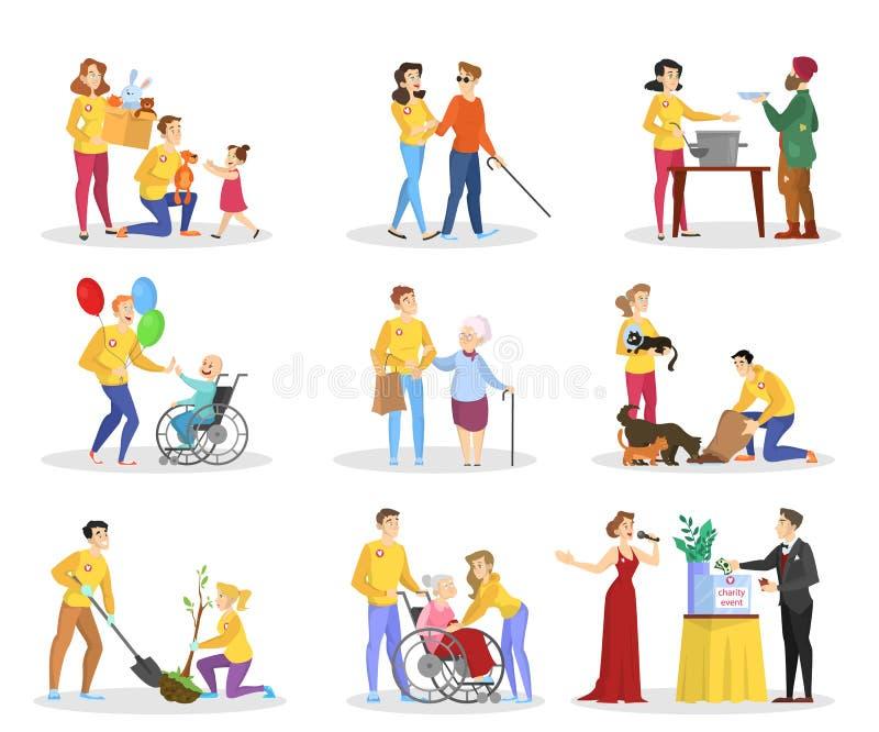 Ensemble volontaire de personnes d'aide Collection de charit? illustration libre de droits