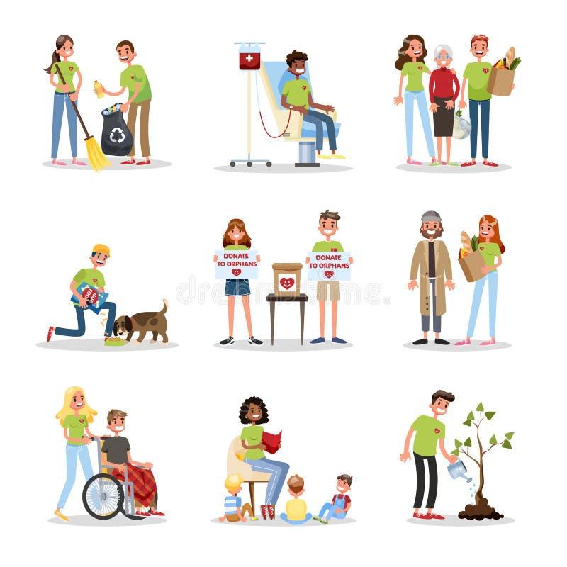 Ensemble volontaire de personnes d'aide Collection de charit? illustration stock