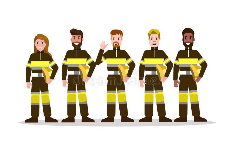 Ensembles d'équipe de lutte contre l'incendie dans l'uniforme noir illustration libre de droits