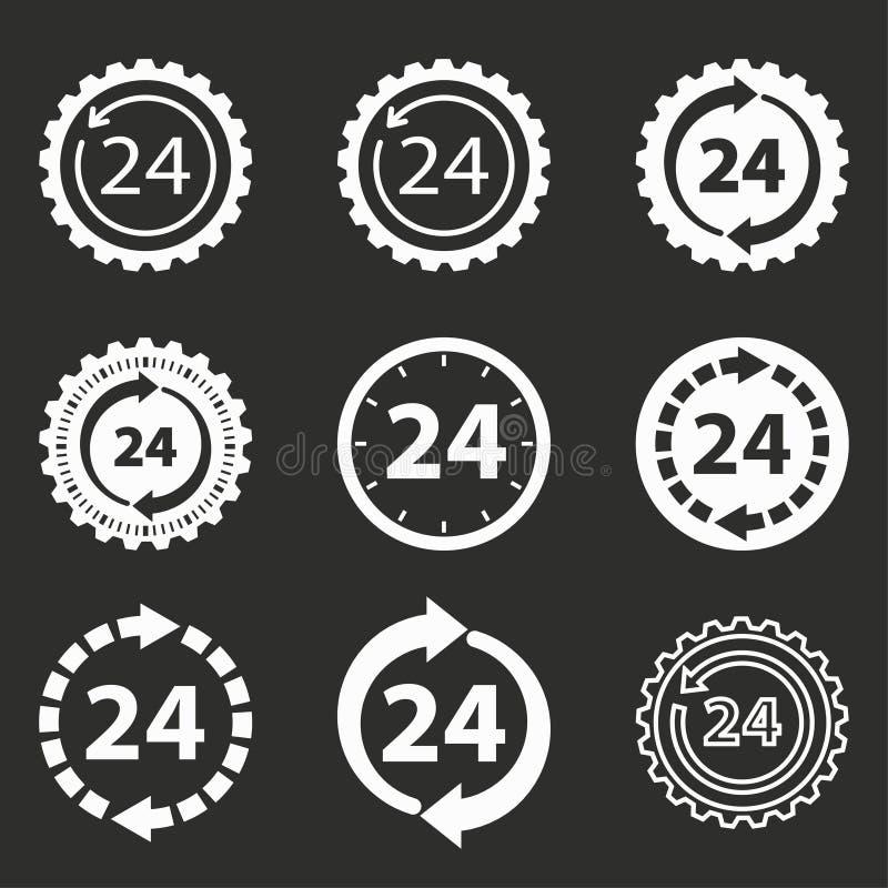 24 ensembles d'icône de service d'heure illustration libre de droits