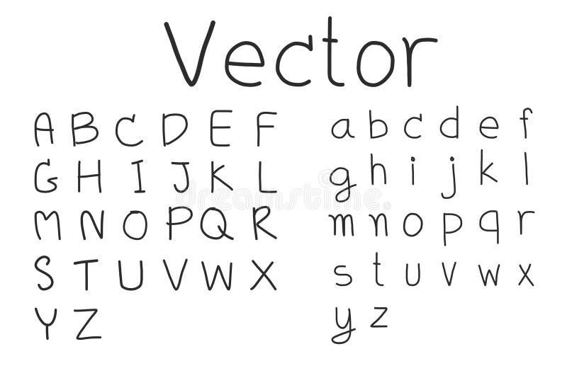 Ensembles de vecteurs alphabétiques dessinés à la main sur fond blanc illustration libre de droits