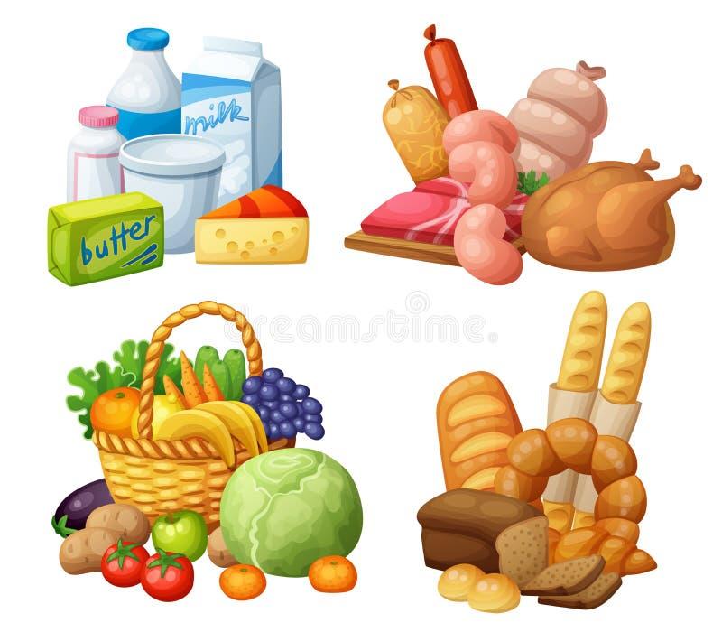 Ensembles naturels de nourriture de supermarché : Laitages, poulet de saucisses de viande, fruits et légumes d'épicerie, boulange illustration stock