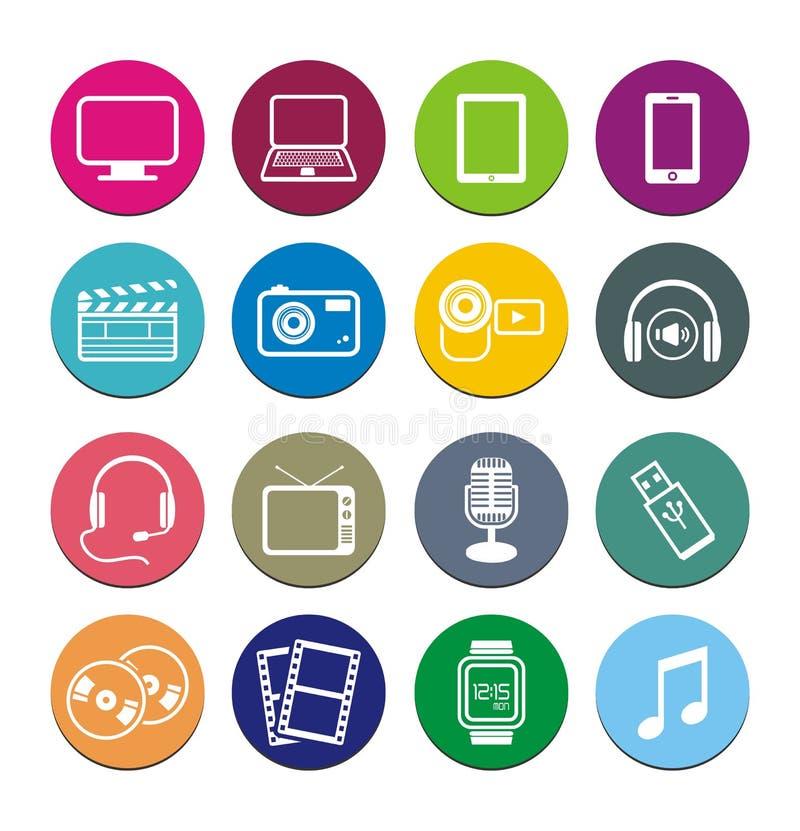 Ensembles ronds multimédia d'icône illustration libre de droits