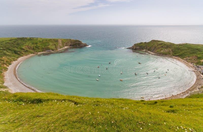 Ensenada de Lulworth en la costa jurásica, Dorset, Reino Unido fotografía de archivo libre de regalías