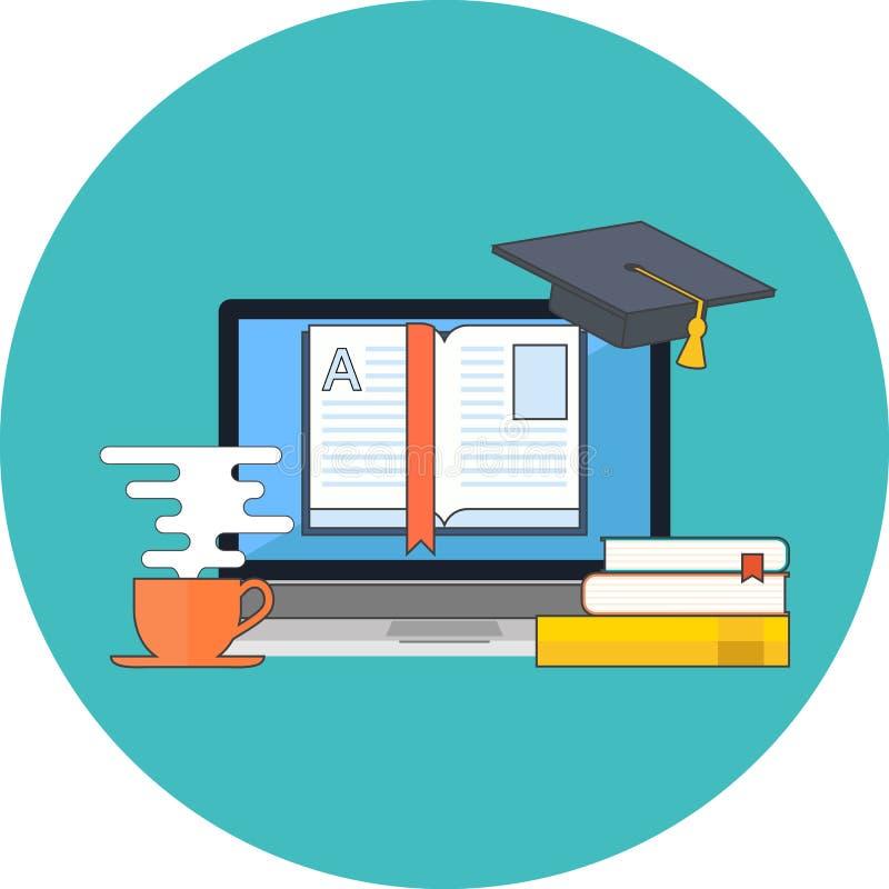 Ensino à distância, conceito de aprendizagem em linha Projeto liso ilustração do vetor