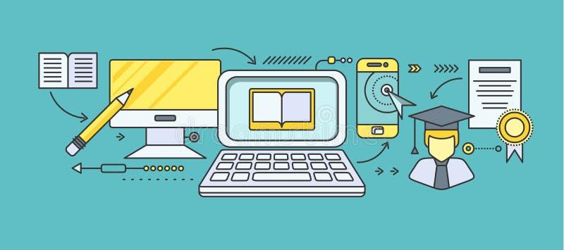 Ensino à distância e educação ilustração stock