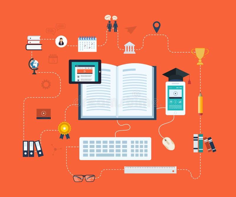 Ensino à distância e ensino eletrónico ilustração stock