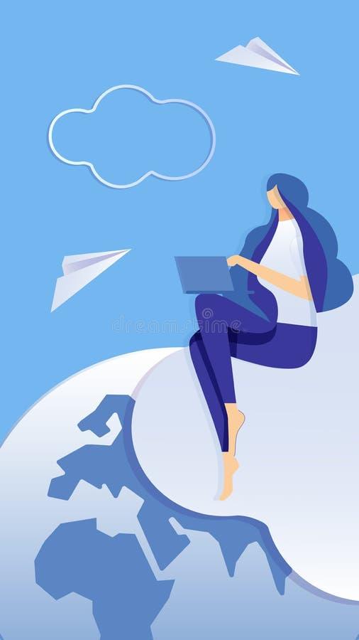 Ensino à distância, ilustração de aprendizagem em linha ilustração royalty free