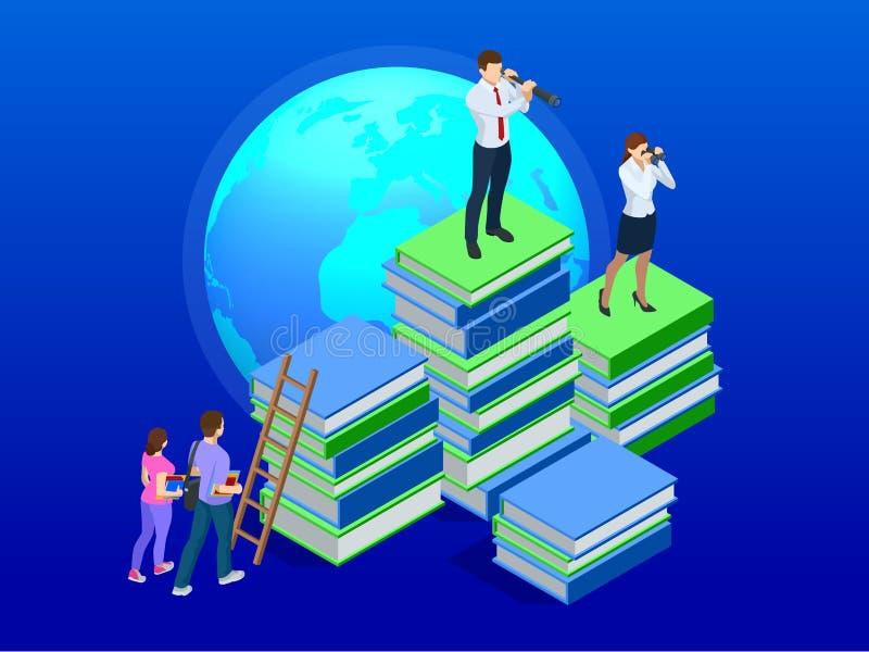 Ensino à distância isométrico, cursos em linha, ensino eletrónico, conceito dos cursos Treinamento, aprendizagem em linha, Webina ilustração royalty free