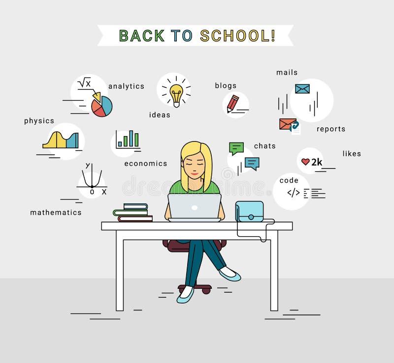 Ensino eletrónico e de volta à ilustração da escola da moça que usa o portátil ilustração stock