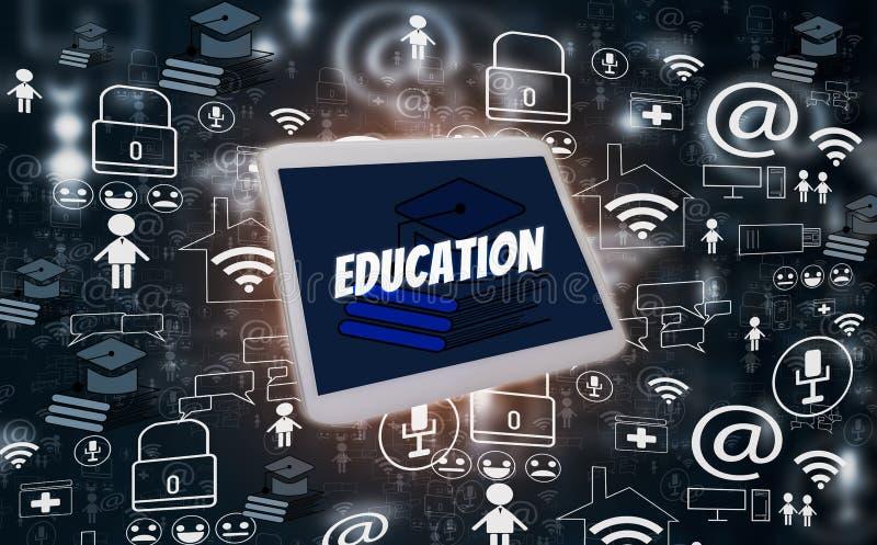 Ensino eletrónico e educação em linha, com meios sociais da tabuleta e dos ícones no fundo preto, projeto criativo da ilustração, foto de stock