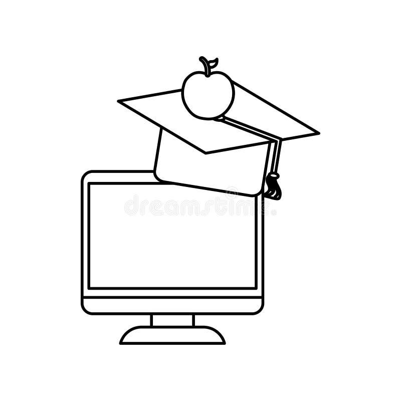 Ensino eletrónico em linha da educação ilustração do vetor