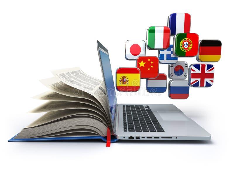 Ensino eletrónico ou conceito em linha do tradutor Aprendendo o onli das línguas ilustração do vetor