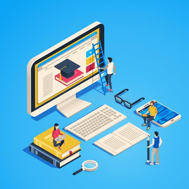 Ensino em linha isométrico Sala de aula do Internet, estudante que aprende na classe do computador Vetor em linha do graduado 3d  ilustração royalty free