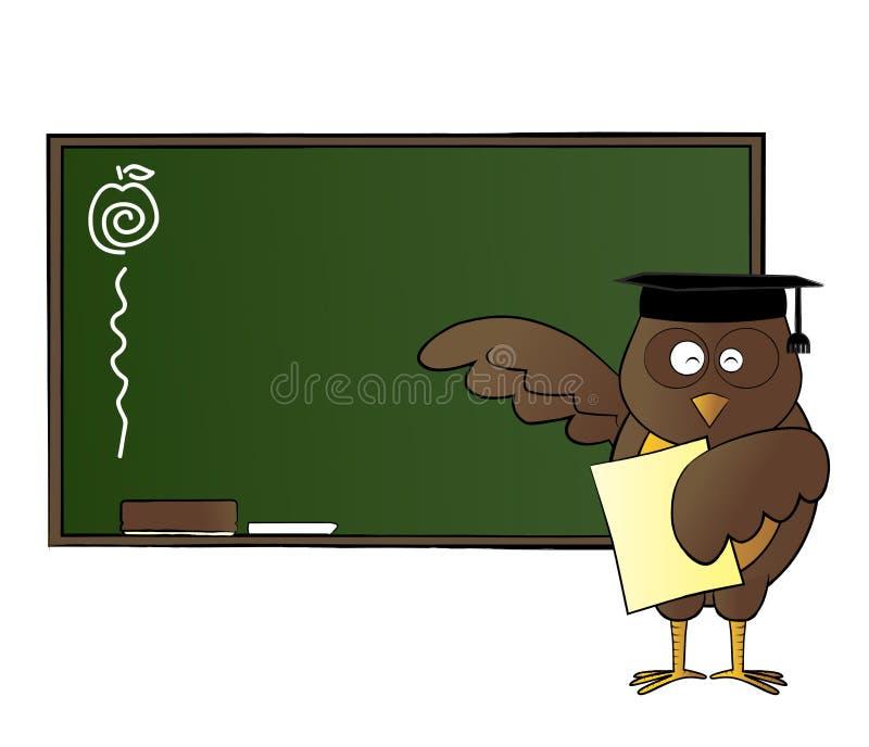Ensino feliz da coruja na classe ilustração do vetor