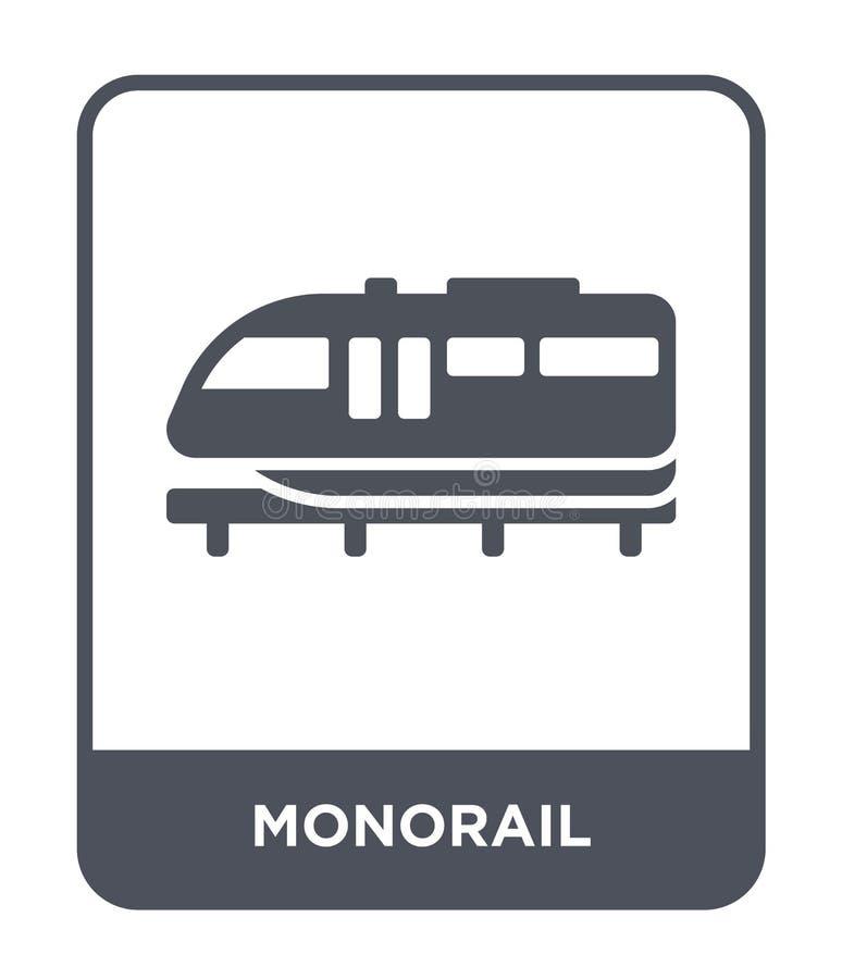 enskenig järnvägsymbol i moderiktig designstil enskenig järnvägsymbol som isoleras på vit bakgrund enkel och modern lägenhet för  vektor illustrationer