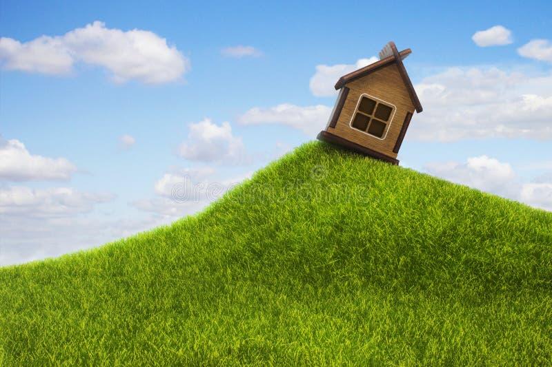 Ensligt hus på kullen arkivfoton