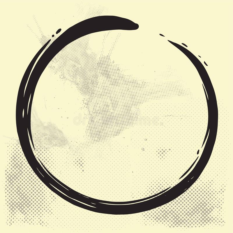 Enso Zen Circle Brush Vector Illustration su vecchia carta royalty illustrazione gratis