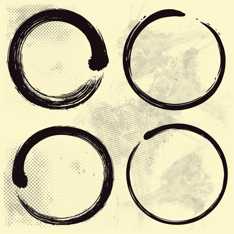 Enso Zen Set su vecchio fondo di carta illustrazione di stock