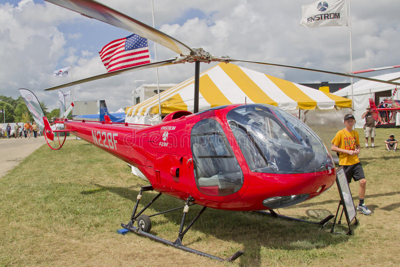 Enstrom F28F Red Helicopter stock photography