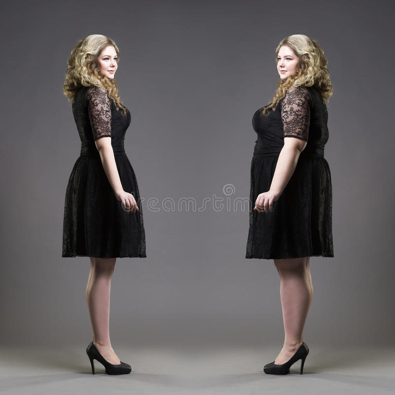 Ensuite avant concept de poids de perte, plus la taille et les modèles minces dans des robes noires sur le fond gris photo libre de droits