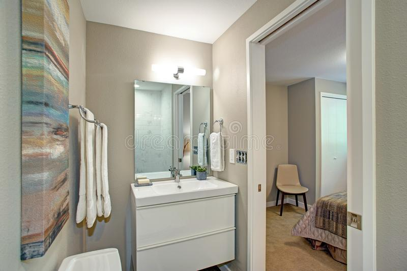Ensuite badrum med badrumfåfänga och en toalett fotografering för bildbyråer