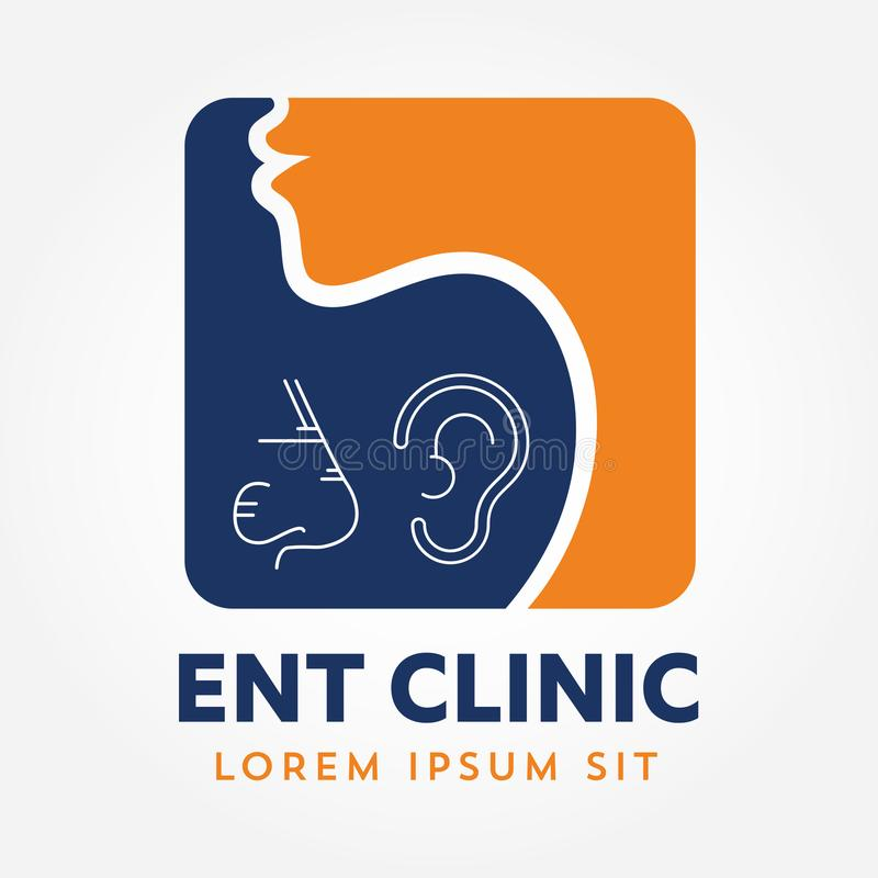 ENT embleemmalplaatje Hoofd voor oor, neus, keel artsenspecialisten Logo Concept lijn vectorpictogram Editableslag Vlakke lineair royalty-vrije illustratie