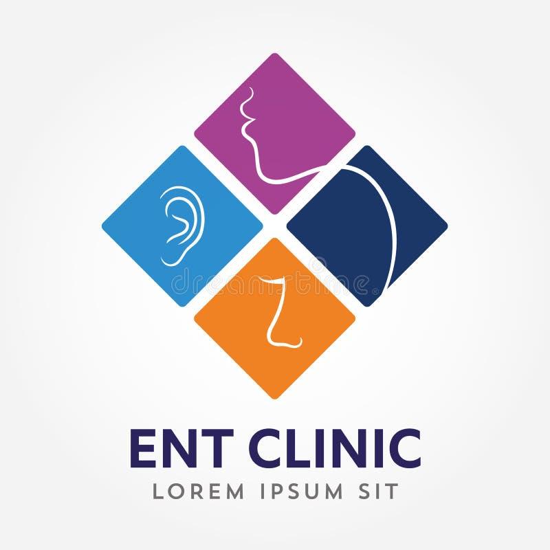ENT embleemmalplaatje Hoofd voor oor, neus, keel artsenspecialisten Logo Concept lijn vectorpictogram Editableslag Vlakke lineair vector illustratie