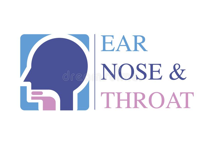 ENT loga szablon Przewodzi dla ucho, nos, gardło doktorscy specjaliści Loga pojęcie kreskowa wektorowa ikona Editable uderzenie P royalty ilustracja