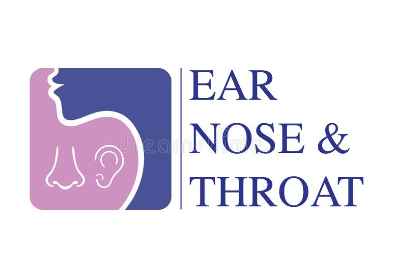 ENT logo template. Head for ear, nose, throat doctor specialists. logo concept. Line vector icon. Editable stroke. Flat linear ill. ENT logo template With Head royalty free illustration