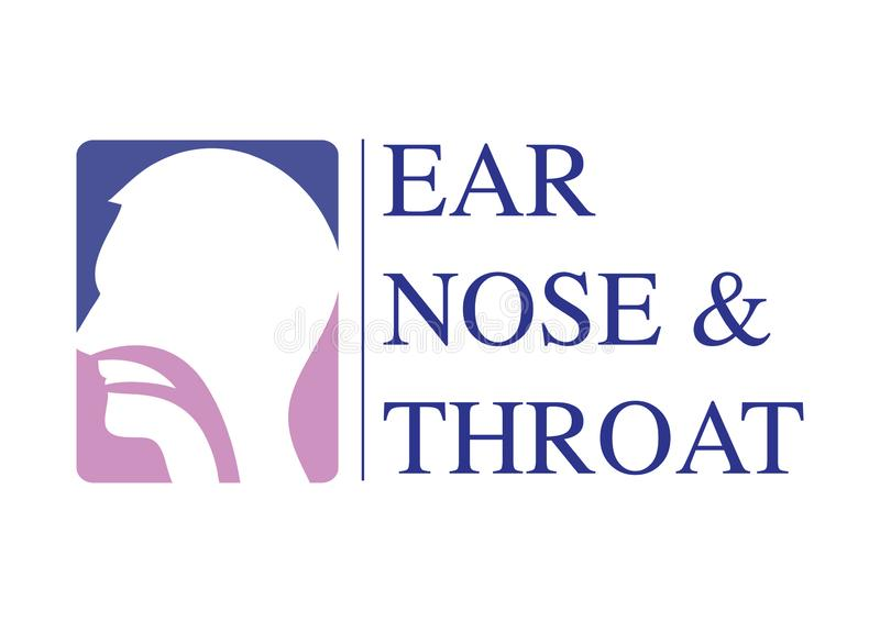 ENT logo template. Head for ear, nose, throat doctor specialists. logo concept. Line vector icon. Editable stroke. Flat linear ill. ENT logo template With Head vector illustration