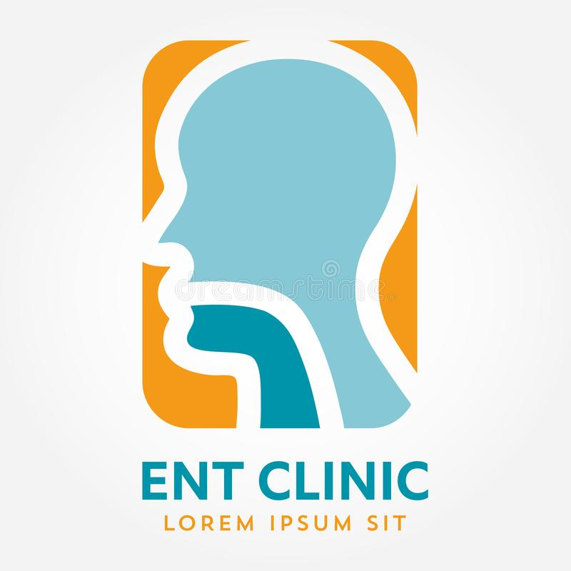 ENT logo template. Head for ear, nose, throat doctor specialists. logo concept. Line vector icon. Editable stroke. Flat linear ill. ENT logo template With Head stock illustration