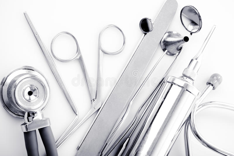 ENT tools. Medical instruments for ENT doctor on white royalty free stock image