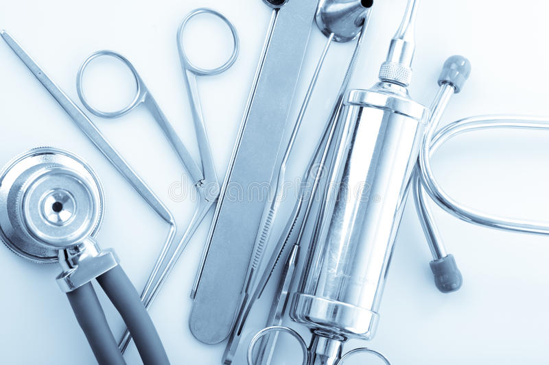 ENT tools. Medical instruments for ENT doctor on white stock photo